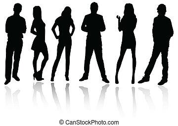 silhouettes, de, professionnels