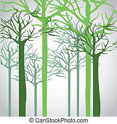 silhouettes, de, tronc arbre