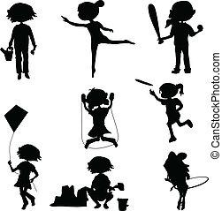 silhouettes, dessin animé, gosses