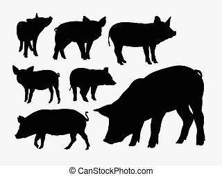 silhouettes, dier, varken