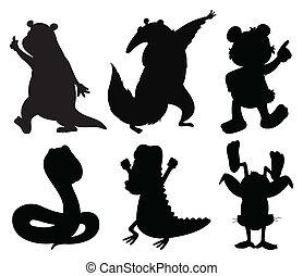 silhouettes, dieren, dancing