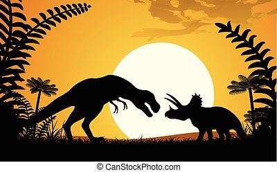silhouettes, dinosaurs.