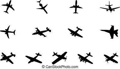 silhouettes, divers, avion