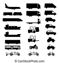 silhouettes, divers, vehicles.