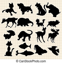 silhouettes, djuren
