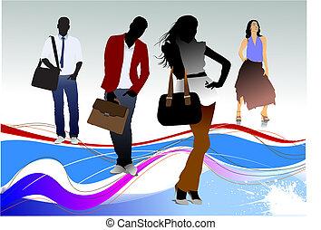 silhouettes., dos, ilustración, pareja., cuatro, vector