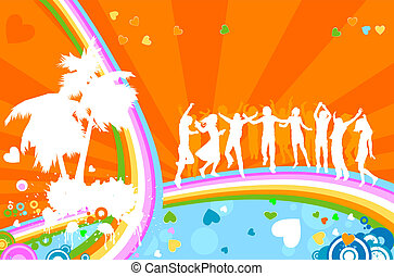 silhouettes, dospělí, party;, mládě