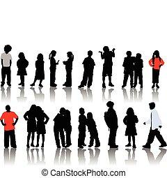 silhouettes., dzieci