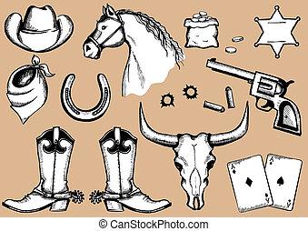silhouettes, eelements, life., vecteur, cow-boy