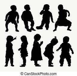 silhouettes, enfants, activité