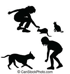 silhouettes, enfants, animaux familiers, jouer