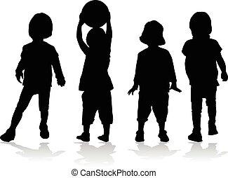 silhouettes., enfants