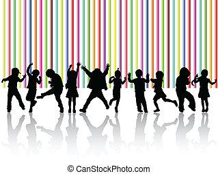 silhouettes, enfants, danse