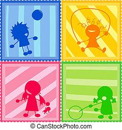 silhouettes, enfants