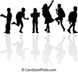 silhouettes, enfants, education