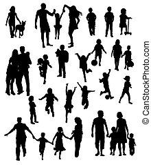 silhouettes, enfants, famille