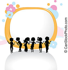 silhouettes, enfants, fond