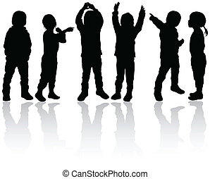 silhouettes, enfants, heureux