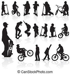 silhouettes, enfants, homme