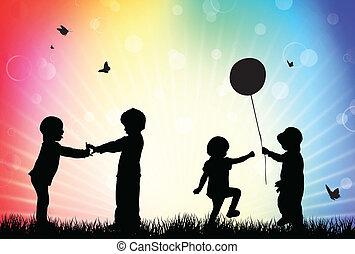 silhouettes, enfants, jardin