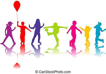 silhouettes, enfants jouer, coloré