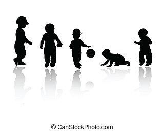 silhouettes, -, enfants
