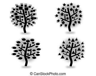 silhouettes, ensemble, arbres