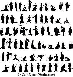 silhouettes, ensemble, asiatique