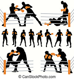 silhouettes, ensemble, boxeurs