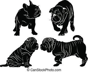 silhouettes, ensemble, chiens