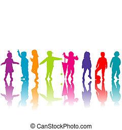 silhouettes, ensemble, coloré, enfants