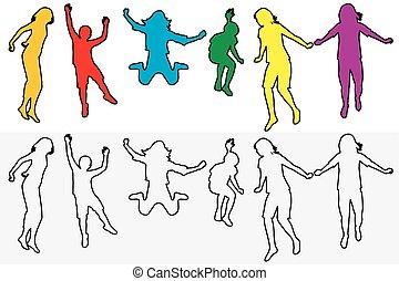 silhouettes, ensemble, contour, sauter, enfants