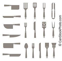 silhouettes, ensemble, cutlery.