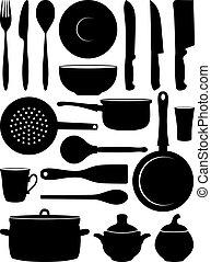 silhouettes, ensemble, dishes.