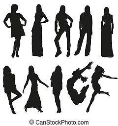 silhouettes, ensemble, dix, femmes