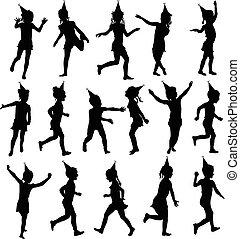 silhouettes, ensemble, enfants, anniversaire, heureux