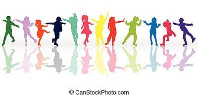 silhouettes, ensemble, enfants, coloré