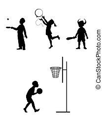 silhouettes, ensemble, enfants jouer