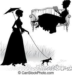 silhouettes, ensemble, femmes