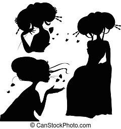 silhouettes, ensemble, filles, japonaise