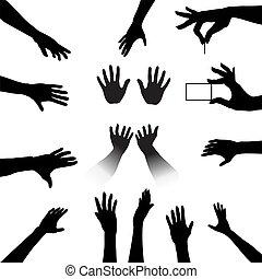 silhouettes, ensemble, gens, mains