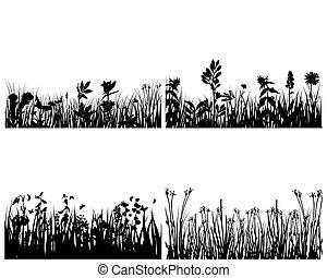 silhouettes, ensemble, herbe