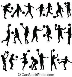 silhouettes, ensemble, jouer, balles, enfants