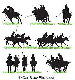 silhouettes, ensemble, joueurs polo
