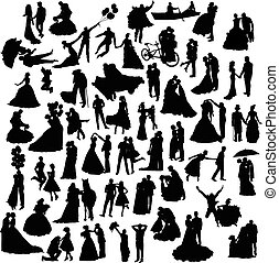 silhouettes, ensemble, mariage
