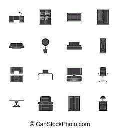 silhouettes, ensemble, meubles, icône