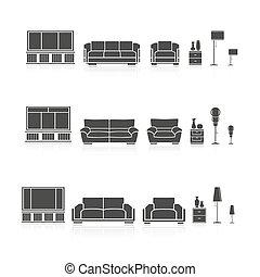 silhouettes, ensemble, meubles
