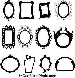 silhouettes, ensemble, miroir