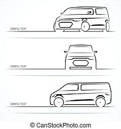 silhouettes., ensemble, moderne, voiture