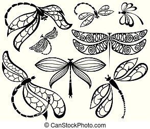 silhouettes, ensemble, noir, libellules